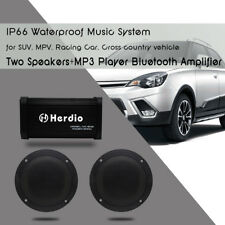 Marine Bluetooth Amplifier USB MP3 Player For Boat Car Audio+4''Marine Speakers