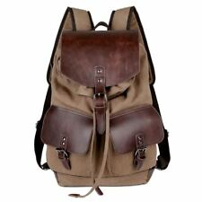 High Quality Casual Canvas Microfiber Leather Women Men Backpack