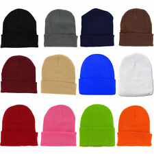 2 X Plain Color Beanie Ski Cap Hat Skull Knit Winter Cuff Unisex Mens And Womens