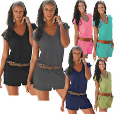 New Summer Women Jumpsuits Casual Solid Sexy Mini Rompers Cotton Women Clothing