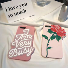 3D Rose Flower I'm Very Busy Soft Silicone Case Cover for iPhone 6 6S 7 Hot Sale
