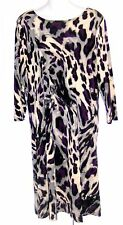 Effortless Style by Citiknits Purple or Purple Animal Print Stretch Dress  Small