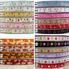 """3/8""""9mm Mixed Colors Rose Maple Leave Cherry Grosgrain Ribbon 2 Yards/10 Yards"""