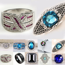 Fashion Women Jewelry 925 Silver Topaz Gemstone Wedding Engagement Ring Size6-14