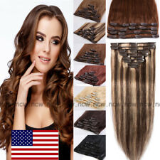 BIG SALE Clip in Remy Human Hair Extensions FULL HEAD 8Piece 18Clips Blonde B773
