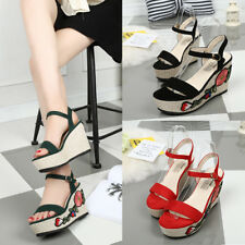 Women Lady Flower Wedge Platform Shoes Open Toe Buckle High Heels Sandals Shoes