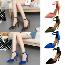 Women Pointed Toe Stiletto High Heels Pumps Shoes Zipper Ankle Strap Sandals