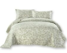 DaDa Bedding White Floral Damask Freesia Elegant Quilted Coverlet Bedspread Set