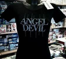 Women's T-shirt Angel Devil short sleeve to ride printed logo and rhinestones