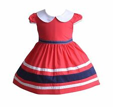 Cinda Girls Short Sleeves Summer Party Dress in Blue Red 3 4 5 6 7 Years