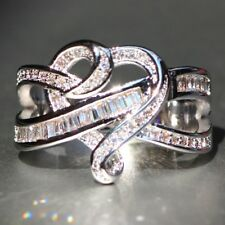 925 Silver Infinity Ring 4.2CT White Topaz Vintage Wedding Engagement Size 6-10