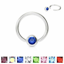 1 PC 20G 18G 16G 14G Surgical Steel Captive Bead Ring with Press Fit Gem Ball