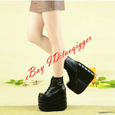 Women Gothic Platform Shoes Cosplay Lace Up Creeper Punk Ankle Boots Runway Pump
