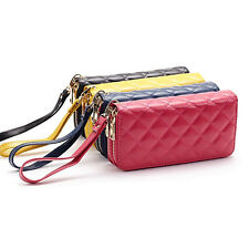 Women Double Zipper Rhombus Leather Wallet Bag Case Clutch Card Holder Purse#1