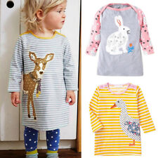 Baby Toddler Kid Girl Long Sleeve Cotton Top Dress Animal Princess Party Clothes