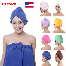 US Microfibre After Shower Hair Turban Drying Wrap Towel Quick Dry Hair Hat Cap