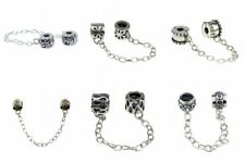 925 Sterling Silver Charm Clip/Screwed-on Safety Chain Fit 3mm European Bracelet