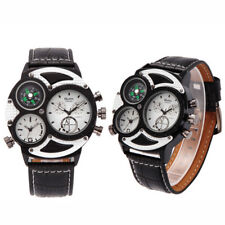 Oulm Dual Time Zones Mens Sports Business Leather Band Quartz Watch