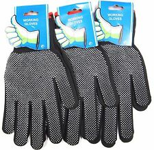 6 OR 12 PAIRS OF BLACK NYLON WORK GLOVES WHITE GRIP DOTS - HARDWARE GARDENING