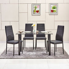 Modern Dining Chairs&Table High Back PU Faux Leather Chairs and Glass Table