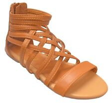 Girls Open Toe Vegan Leather Gladiator Sandal Ankle Strap Cage Cutout Flat...