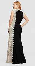 Xscape Plus Sz 14W 20W 22W Formal Evening Occasion Cap Sleeve Glitter Lace Gown