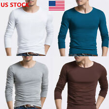 US Stylish Men Boys Slim Fitted Long Sleeve Pullover Tops Shirt Blouse T-shirts