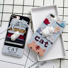 For iPhone 6/6s 7 Plus 3D Cute Lazy Cat Soft Silicone Lovely Phone Case Cover