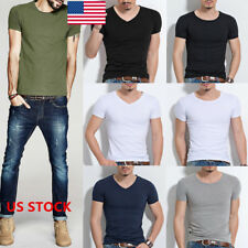 Men V Neck Casual Cotton T-Shirt Slim Fitted Crew Neck Short Sleeve Tops Blouse
