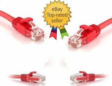 High Quality RJ45 Cat5e Network Ethernet DSL LAN Patch Cable Red Lead PC Hub uk