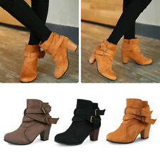 Women Ladies Fashion Zipper Chunky High Heels Ankle Zip Booties Shoes Size 5-9.5