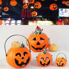 Child Candy Pumpkin Barrel Lamps Halloween LED Pumpkin Bucket Light Party Decor