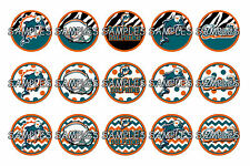 "NFL Miami Dolphins PRE CUTS or DIGITAL SHEET 1"" Circle Bottle Caps"