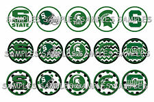 "Michigan State Spartans Dots PRE CUTS or DIGITAL SHEET 1"" Circle Bottle Caps"