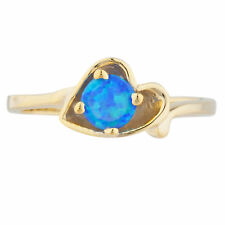 14Kt Yellow Gold Plated Blue Opal Round Heart Shape Ring
