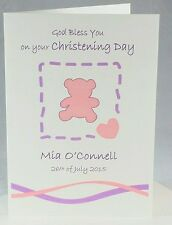 Personalised CHRISTENING BAPTISM NAMING DAY Card - name - teddy bear - colours