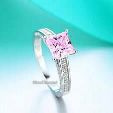 Fine 925 Sterling Silver Pink Engagement Ring Princess Cut Simulated Diamond