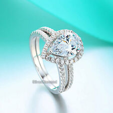 Fine 925 Sterling Silver 2 Carat Pear Cut Engagement Ring Set Simulated Diamond