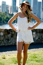 NEW White Guipure Crochet Lace Festival Short Cute Boho Playsuit Romper Fab