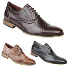 Boys New Capped Oxford Brogue Leather Lined Smart Shoes Black Brown Oxblood