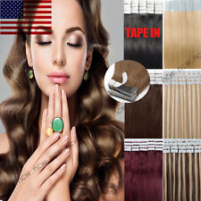 60PCS Tape In Skin Weft 100% Remy Human Hair Extensions Full Head Highlight B829