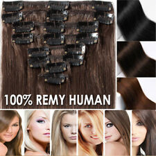 8Pcs Cheap Price Clip In 100% Remy Human Hair Extension Soft Full Head UK LEE221