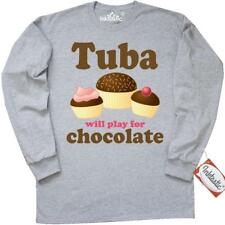 Inktastic Funny Tuba Play For Chocolate Long Sleeve T-Shirt Will Player Gift Tee