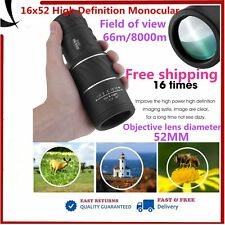 16x52 Dual Focus Telescope Monocular Green Lens Mini Single-Tube Scope Hunting@D