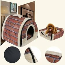 Foldable Dog Puppy Cat House Kennel Nest Bed With Mat Pet Travel Bed Tent UW