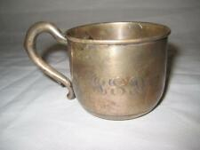 Antique Fisher Sterling Silver Baby Cup With English Script Monogram ~ 48 Grams