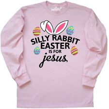 Inktastic Silly Rabbit Easter Is For Jesus With Bunny Head Long Sleeve T-Shirt