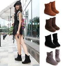 New Women Ladies Fax Suede Casual Slip On Flats Ankel Boots Shoes Slouch Boots