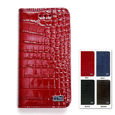 APPLE iPhone7 /8 PREMIUM XTRA Cow Split Leather Flip Case CASE Red Brown navy