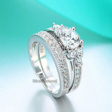 Fine 925 Sterling Silver Vintage Style Engagement Ring Set Simulated Diamond*